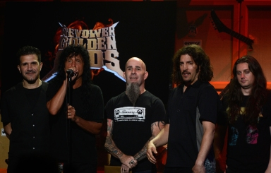 LOS ANGELES, CA - MAY 02:  Anthrax on stage at the 5th Annual Revolver Golden Gods Award Show at Club Nokia on May 2, 2013 in Los Angeles, California.  (Photo by Frazer Harrison/Getty Images)